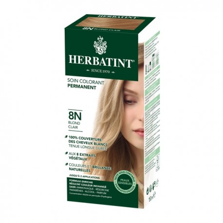 Coloration Cheveux Naturelle 8N Blond Clair - 150ml - Herbatint