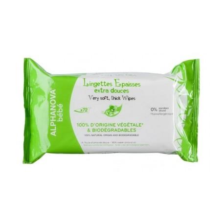 Lingettes Epaisses extra douces (72 lingettes)-Alphanova Bébé