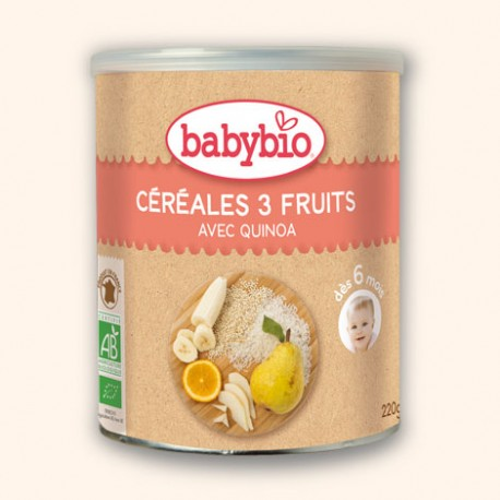 Céréales 3 Fruits avec Quinoa 220g-Babybio