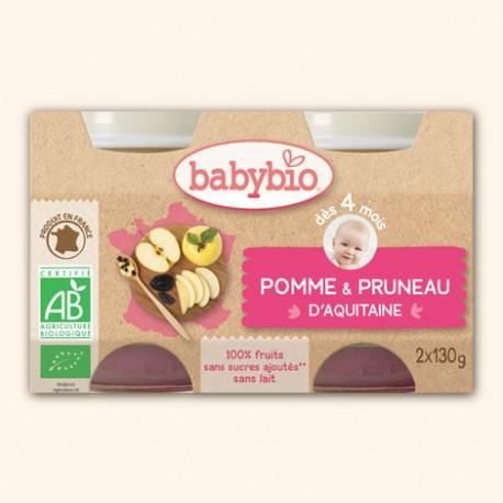Petit Pot Fruits Pomme d'Aquitaine et Pruneau d'Agen - 2 x 130g - Babybio