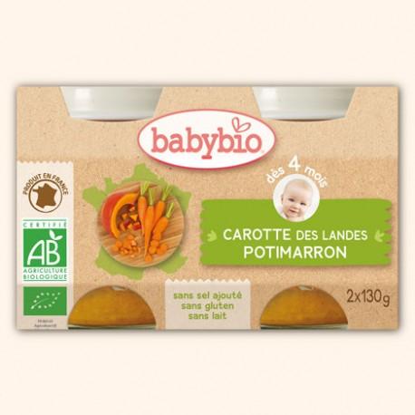 Petits Pots Carotte des Landes et Potimarron - 2 x 130g - Babybio