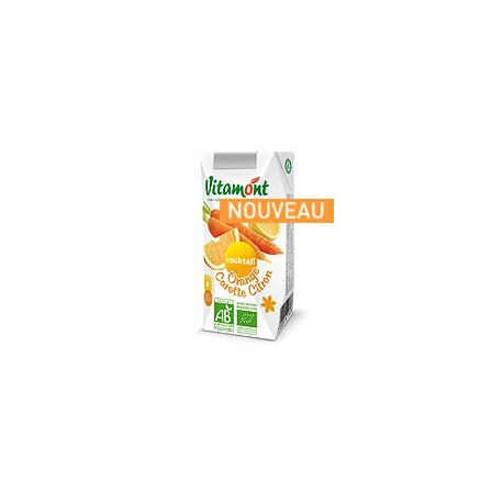 Cocktail Orange Carotte Citron Bio Tétra Pak 6x0.20L-Vitamont