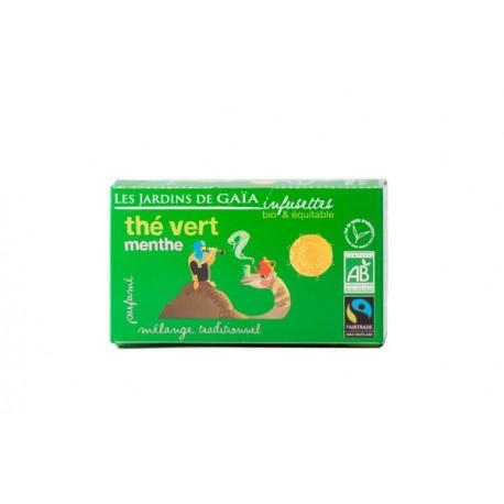 Thé Vert Menthe, Infusettes Bio 36g-Les Jardins de Gaia