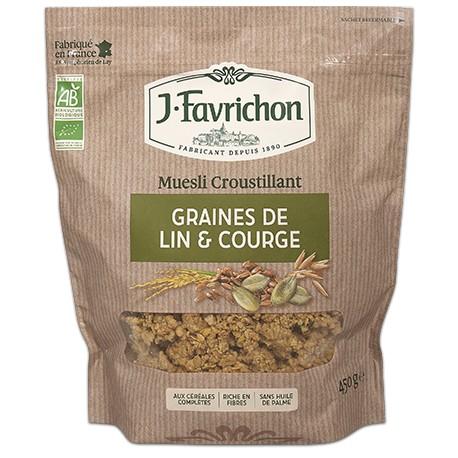 Muesli Croustillant Graines de Lin et Courge 400g-Joseph Favrichon