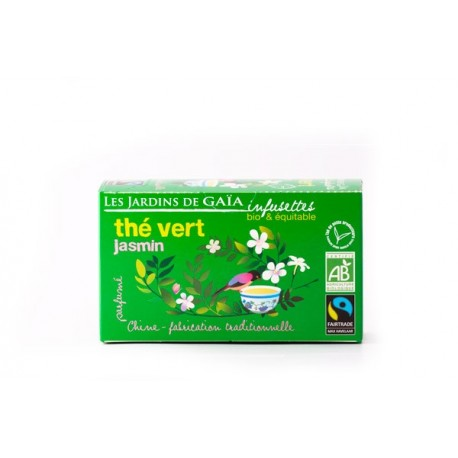 Thé Vert Jasmin, Infusettes Bio 32g-Les Jardins de Gaia