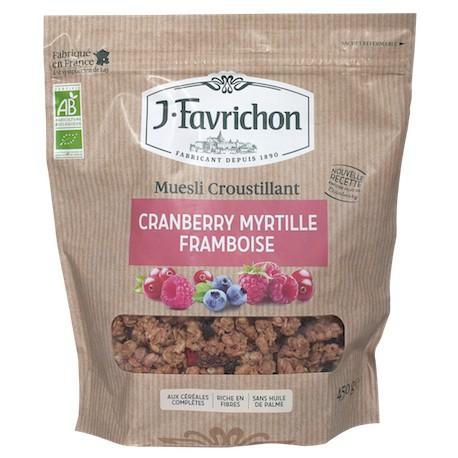 Muesli Croustillant Cranberry Myrtille Framboise 500g-Joseph Favrichon