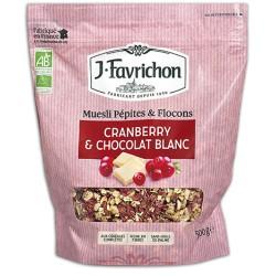 Muesli Pépites et Flocons Cranberry / Chocolat Blanc 500g - Joseph Favrichon