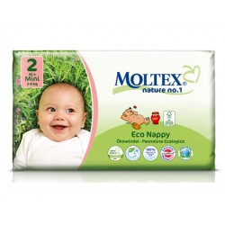 Couches écologiques jetables T2 - 3-6kg - 42 couches - Moltex