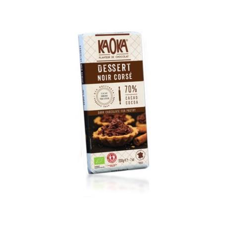 Chocolat Dessert Noir Corsé Bio 70% Cacao - 200g - KAOKA