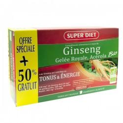 Ginseng, Gelée Royale, Acérola Bio - Promo 30 Ampoules - SuperDiet