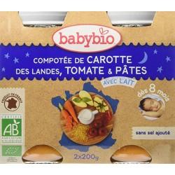 Compotée de Carotte des Landes, Tomate, Pâtes - 2x200g - Babybio