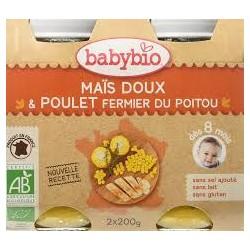 Maïs Doux et Poulet Fermier du Poitou - 2x200g - Babybio