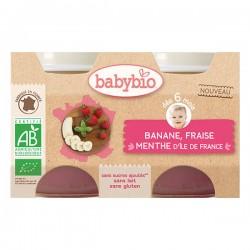 Banane, Fraise et Menthe D'Ile de France - 2x130gr - Babybio