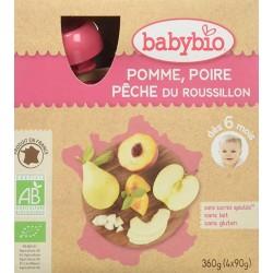 Gourdes Pomme, Poire, Pêche du Roussillon - 4x90gr - Babybio