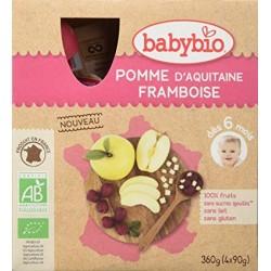 Gourdes Pomme d'Aquitaine, Framboise - 4x90gr - Babybio