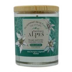 """Bougie Parfumée Edelweiss """"Au Sommet de la Pureté"""" - 150gr - Sentiers des Alpes"""