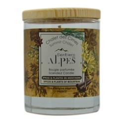 """Bougie Parfumée Epices et Plantes de Montagne """"Chalet des Cimes"""" - 150gr - Sentiers des Alpes"""