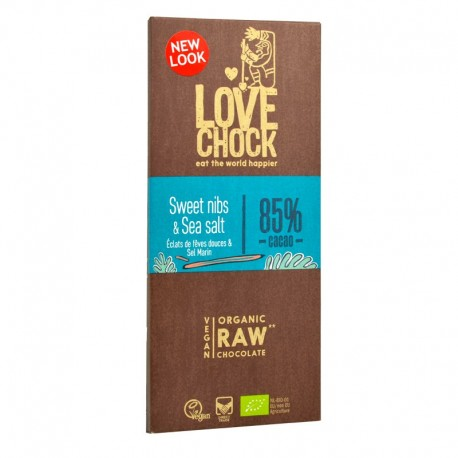 Tablette de Chocolat Cru aux Feves Douces et Sel Marin - Lovechock