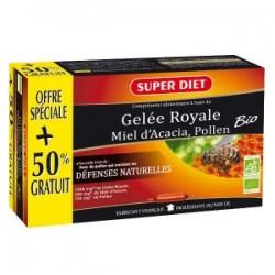 Gelée Royale Miel d'Acacia, Pollen Bio - 20+10 Ampoules - SuperDiet