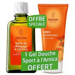 Huile de Massage Arnica + Gel douche Sport à l'Arnica Offert - 200ml + 200ml Offert - Weleda