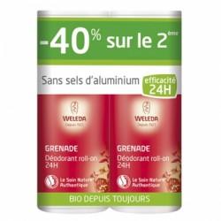 Déodorant Roll-On 24H Grenade - 40% sur le 2ème - 2x50ml - Weleda