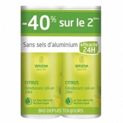 Déodorant Roll-On 24H Citrus - 40% sur le 2ème - 2x50ml - Weleda