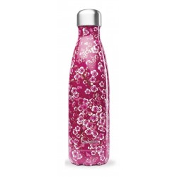 Bouteille Nomade Isotherme - Flowers Rose - 500ml - Qwetch