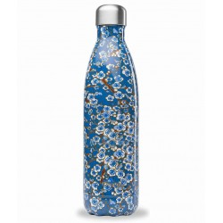 Bouteille Nomade Isotherme - Flowers Bleu - 750ml - Qwetch