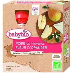 Gourde Poire Fleur d'Oranger - 4x90g - Babybio