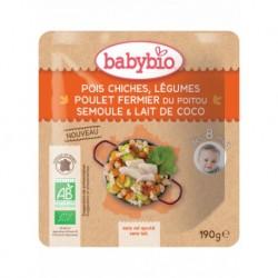 Sachet Pois Chiches Légumes & Poulet - 190g - Babybio