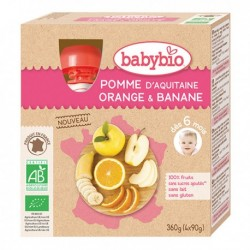 Gourde Pomme Orange Banane - 4x90g - Babybio