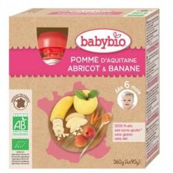 Gourde Pomme Abricot Banane - 4x90g - Babybio