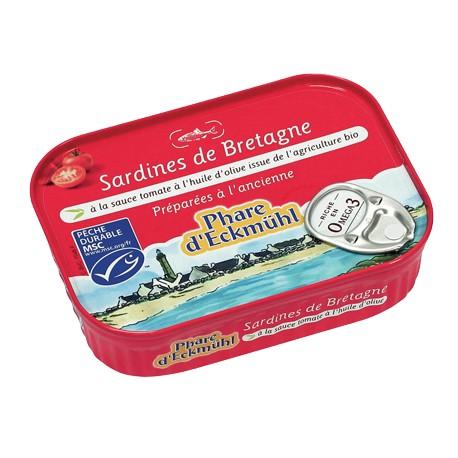 Sardines à la sauce tomate à l'huile d'olive bio 115g -Phare d'Eckmühl