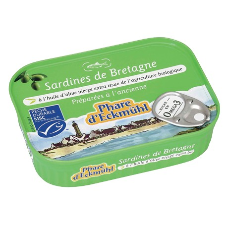 Sardines à l'huile d'olive vierge extra bio 115g -Phare d'Eckmühl