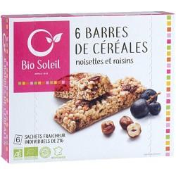 Barres de Céréales Noisettes et Raisins x6 - 125g - Biosoleil