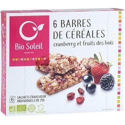 Barres de Céréales Cranberry et Fruits des Bois x6 - 125g - Biosoleil