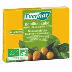 Bouillon Cube Basilic/Huile d'olive 66g-Evernat