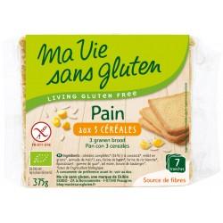 Pain 3 Céréales Prétranché - 375g - Ma Vie Sans Gluten
