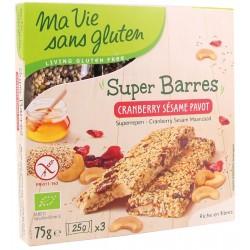 Barres Cranberry Sésame Pavot - 75g - Ma Vie sans Gluten