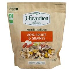 Muesli Tradition - 60% de Fruits & Graines - 500g - Favrichon