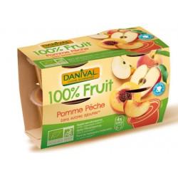 Purée 100% Fruit Pomme et Pêche (4x100g)-Danival