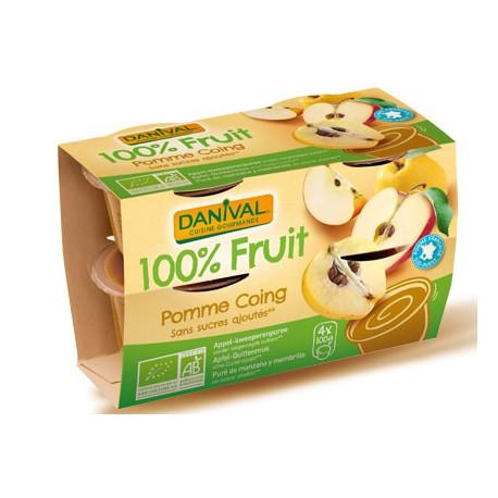 Purée 100% Fruit Pomme et Coing (4x100g)-Danival