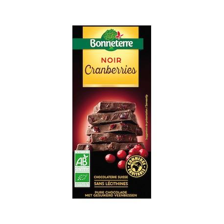 Chocolat Noir Cranberries 100g -Bonneterre