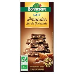 Chocolat Lait Amandes Sel de Guérande 100g -Bonneterre