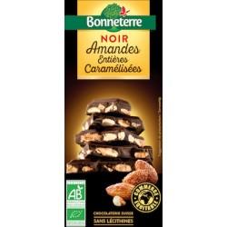 Chocolat Noir Amandes Entières Caramélisées 200g -Bonneterre