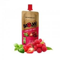 Purée Énergétique Framboise Fraise Basilic - 63g - Baouw Organic Nutrition