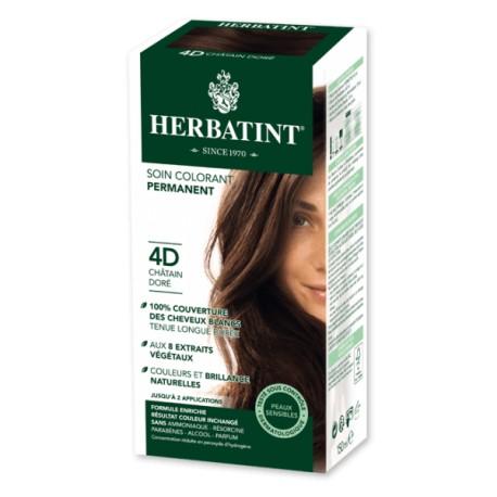 Coloration Cheveux Naturelle 4D Châtain Doré - 150ml - Herbatint